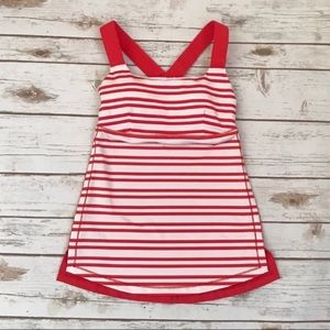 Lululemon Red/white racerback tank with pads